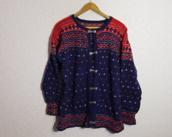 Wool Sweater Cardigan Norwegian Sweater Red Blue Knitted Pullover Nordic Wool Sweater Size XLarge