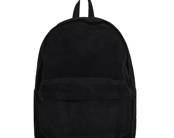 Basic Style Corduroy Backpack (Black) cd67f8de2ed6e