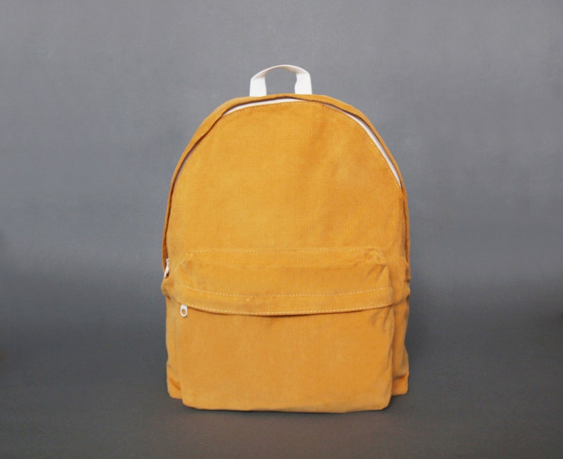 Basic Style Corduroy Backpack Lightweight Backpack Back to image 0
