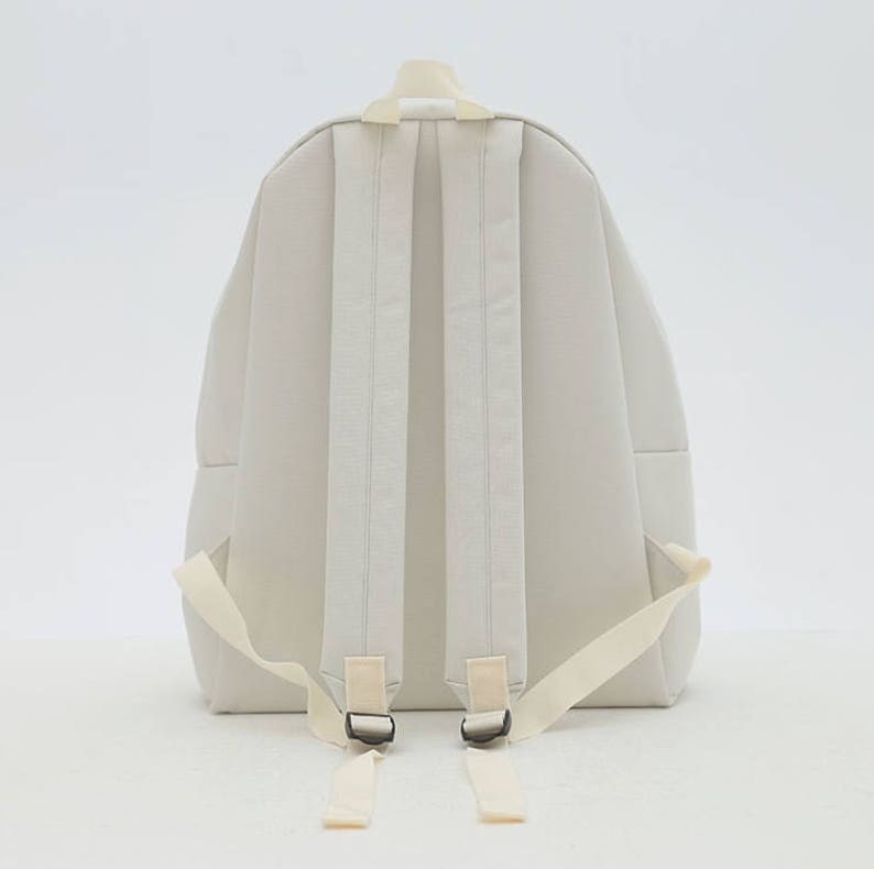 Flamingo Embroidery Backpack White
