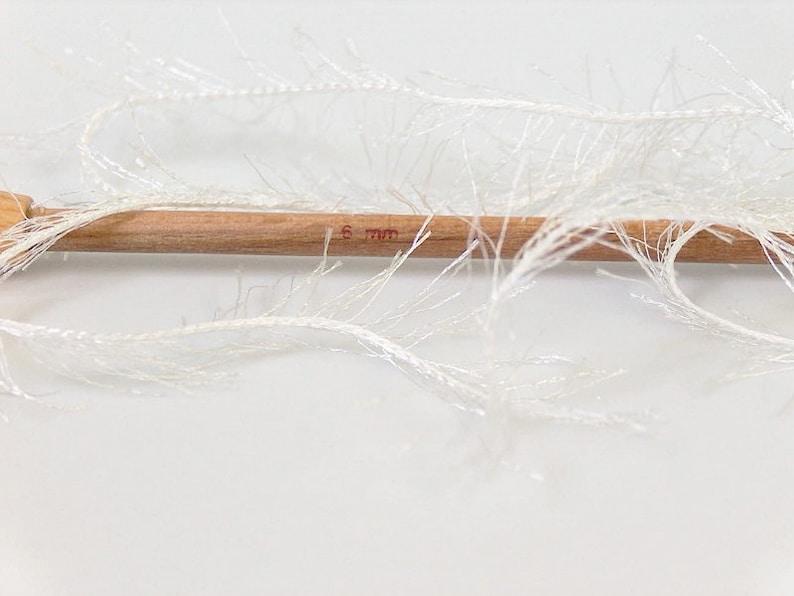 Novelty yarn Off White Fun Fur Long Fancy Yarn Ecru Off White Eyelash Ice Yarn Fiber Art 22746 Winter White Yarn 82 yards
