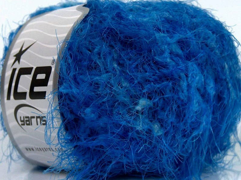 109 yards 46234 Fiber Art Novelty Yarn Polar Eyelash Shades of Blue Ice Yarn Tie back Yarn Bulky Eyelash Fancy Yarn