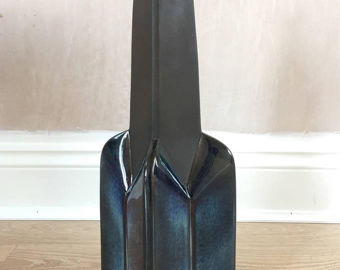 Vintage Soholm Stentoj of Denmark lamp by Einar Johansen in deep blue glaze