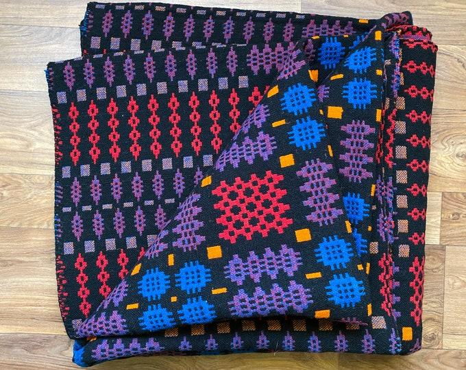 Vintage Welsh tapestry blanket in red and black in wool
