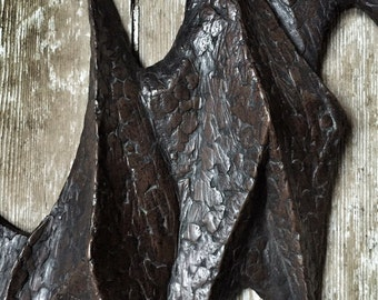 Abstract modernist fibreglass wall sculpture by Joy Stewart