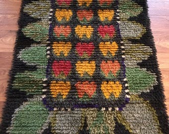 Swedish vintage ryamatta rug pure wool circa 1970's multicoloured fruit and leaf motif or 8 bit game characters!