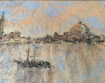 Helen Stuart Weir (1885-1969) pastel drawing of Venice lagoon in original Japanese lacquer frame