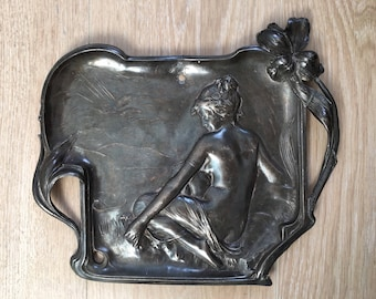Vintage Art nouveau jugendstil metal partially nude seated female pin tray