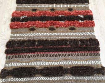 Vintage Swedish rya vavnad wool wallhanging mid century size 120 x 72 cm