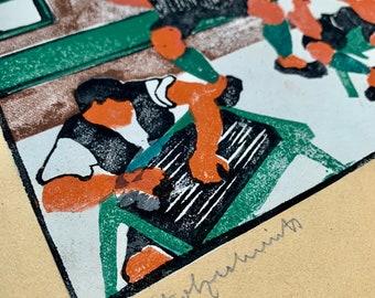 Herbert Gurschner 1901-1975 woodcut musicians Tyrol signed pencil 1924