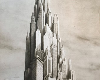 """Jan Peter Tripp """"American Dream"""" limited edition New York skyscrapers Etching"""