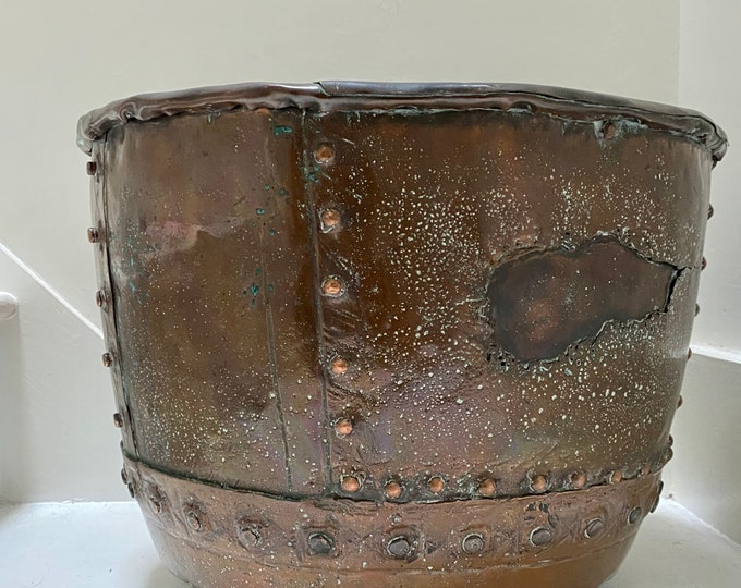 Victorian riveted copper copper in distressed repaired patina