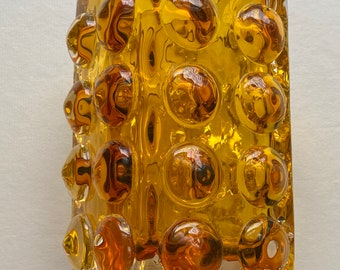 Mid century Scandinavian amber coloured art glass vase with bubble design