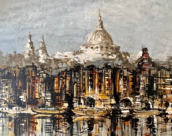 St Paul's Cathedral from the Thames by Ben Maile in oil on board circa 1970's