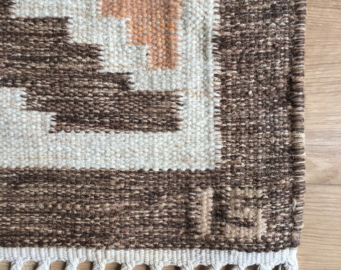 Vintage Swedish rolakan designed by Ingegerd Silow in brown and cream colourway