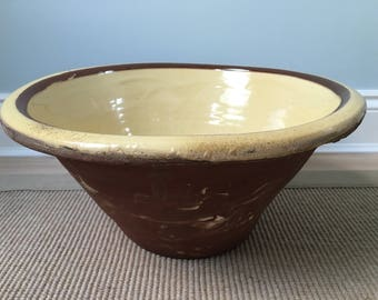 Antique Vintage terracotta dairy cream bowl pail with crazed yellow slip glaze and banded decoration