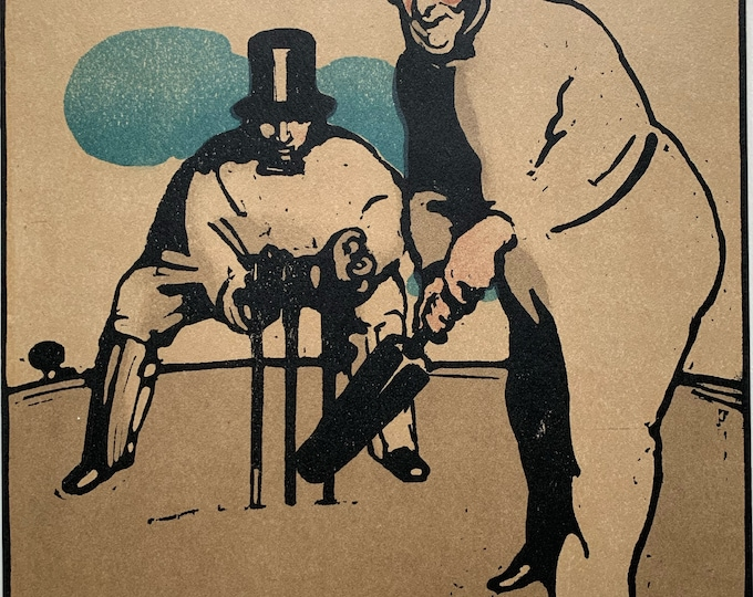 Sir William Nicholson June Cricket from an almanac of twelve sports 1898