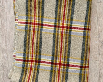 Vintage Welsh wool plaid check red and tan blanket