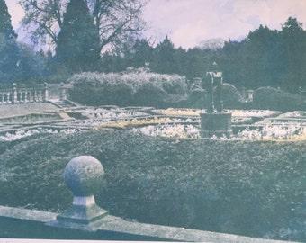 Canadian artist Jennifer Dickson RA, hand coloured mezzo screen print 'Lord Byron's wishing garden' artists proof