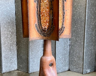 Huge Mid century French Accolay copper and glass shade lamp