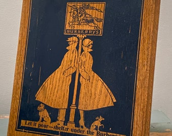 Vintage Burberrys art deco advertising sign