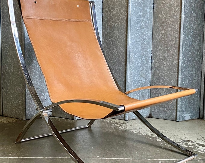 Vintage Marcello Cuneo Luisa chrome and leather deck chair