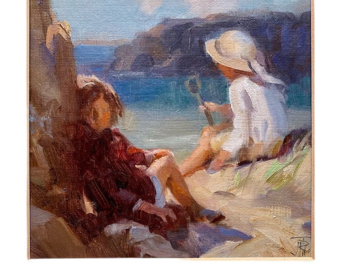 Two girls at the beach by John Richard Townsend 1930-2013 oil on board