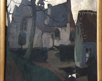 Jozef van Hooste (1884-1940) large oil on canvas called 'The old Church' dated 1927 expressionist style