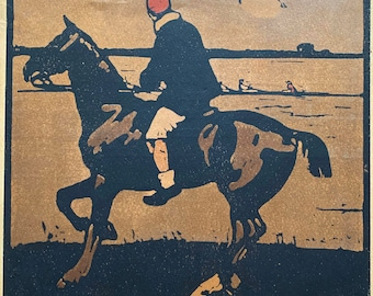 Sir William Nicholson lithograph April boating from an Almanac of twelve sports 1898