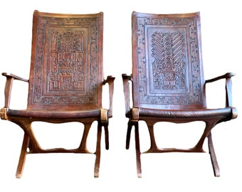 Two Mid century Angel Pazmino leather chairs for Muebles de Estilo