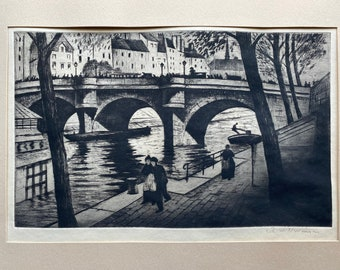 Christopher Richard Wynne Nevinson (1889-1946) Le Pont Neuf 1922 signed in pencil etching and aquatint