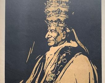 Pope Leo XIII, Sir William Nicholson woodcut print circa 1902