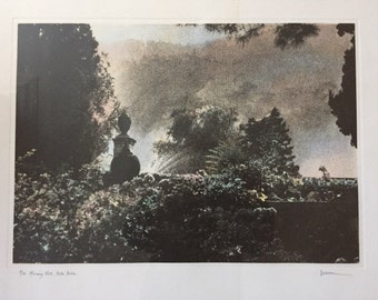 Canadian artist Jennifer Dickson RA, hand coloured mezzo screen print entitled 'Morning Mist, Isola Bella'