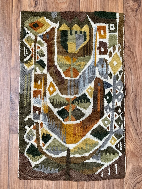 Scandinavian Swedish mid century modernist abstract tapestry panel in wool