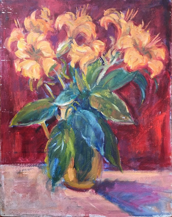 Slade school oil on board orange Iillys in a vase by Joy Stewart circa 1980's