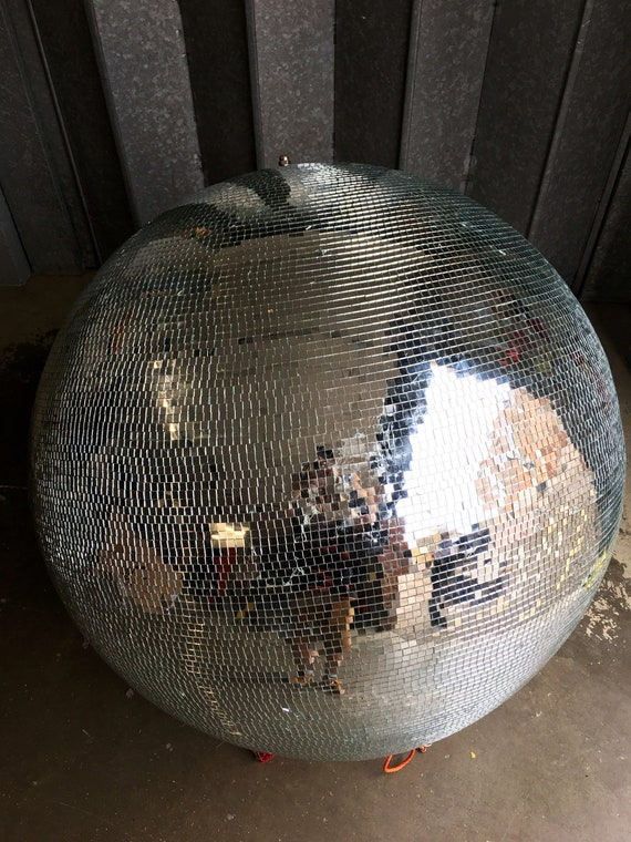 Very large Vintage disco glitter mirror globe 105 cm diameter.