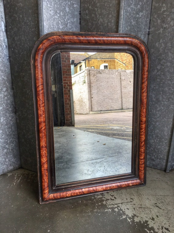 Antique French over mantel mirror with faux tortoiseshell and ebonised finish and original mercury plate
