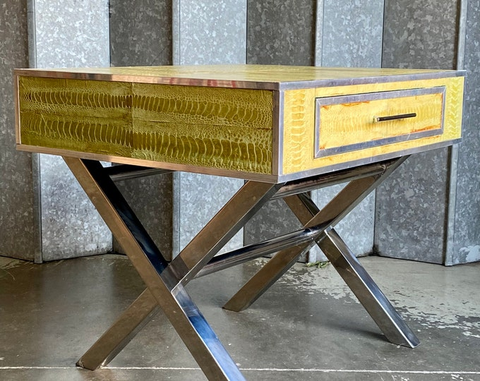 Vintage yellow lizard skin covered coffee table on heavy chrome X frame