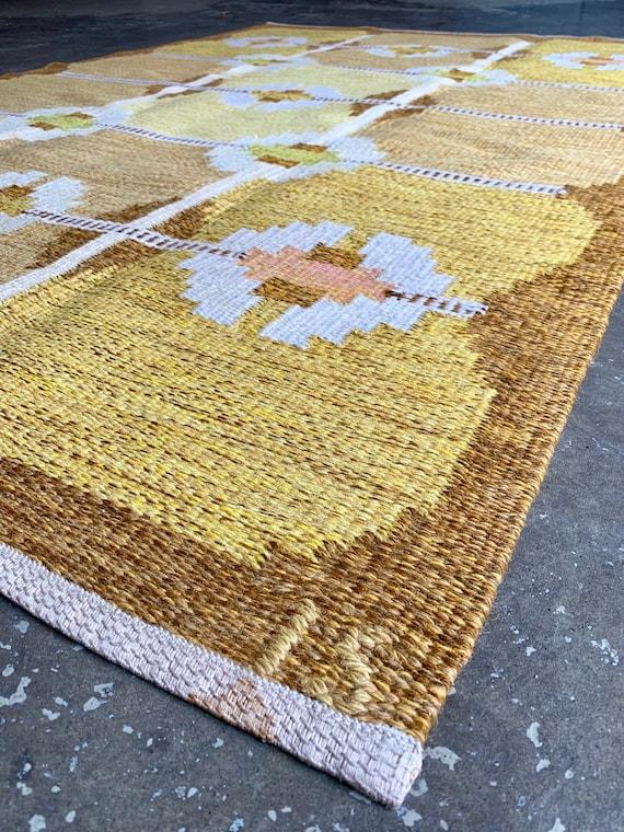 Vintage Swedish rolakan flatweave rug by Ingegerd Silow circa 1960's