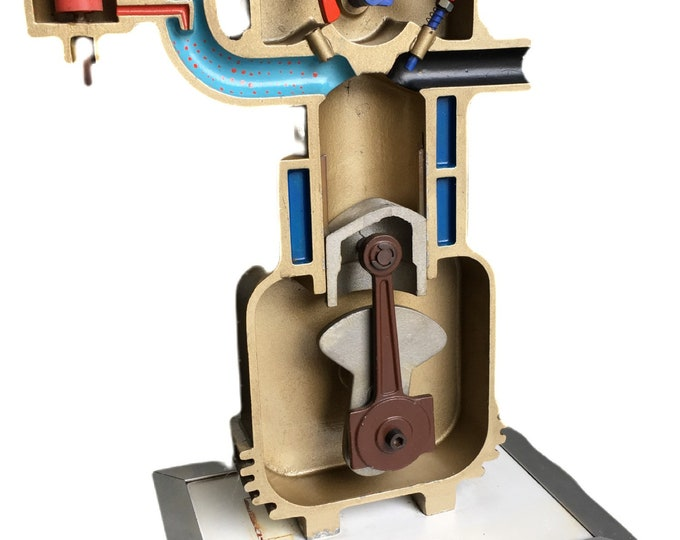 Vintage Lehrmittel VVR working mechanical model of a combustion engine circa 1950's