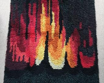 "Vintage Scandinavian ""Marsugn"" by J. Starling Ryamatta shag pile woollen rug flame reds and yellow circa 1969"