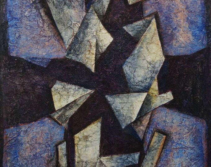 """Francis Bott, German 1904-1998- """"Composition""""; mixed media on Japon paper, signed and dated 74 in ink image size 37x26.2cm"""