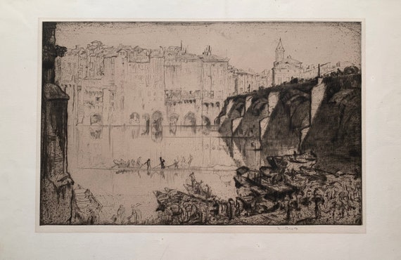 Sir Frank Brangwyn RA, Albi, France, signed in pencil etching with aquatint, 1937