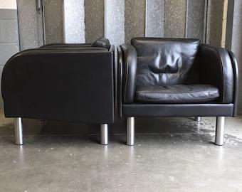A pair of EJ20-1 Leather Armchairs by Jörgen Gammelgaard for Erik Jørgensen Møbelfabrik circa 1980's