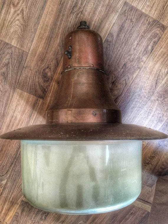 Authentic vintage Dutch mid century copper street pendant lamp