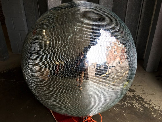 Very large Vintage disco glitter mirror globe 105 cm diameter.