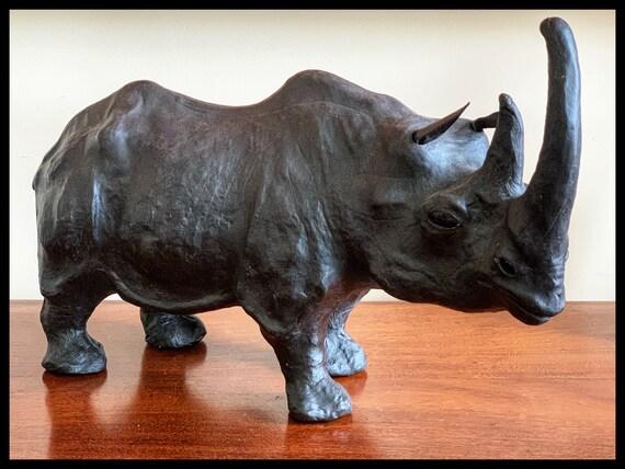 Vintage mid century Liberty of London style leather Rhinoceros
