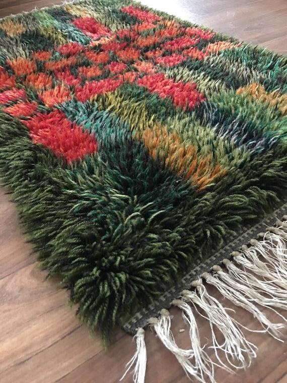 Swedish vintage ryamatta rug pure wool circa 1970's multicoloured design