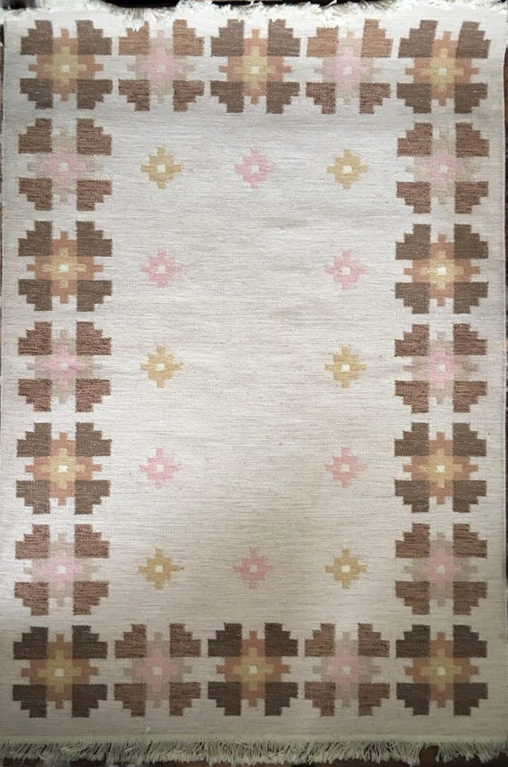 Vintage Scandinavian Swedish traditional flatweave wool rug or rya