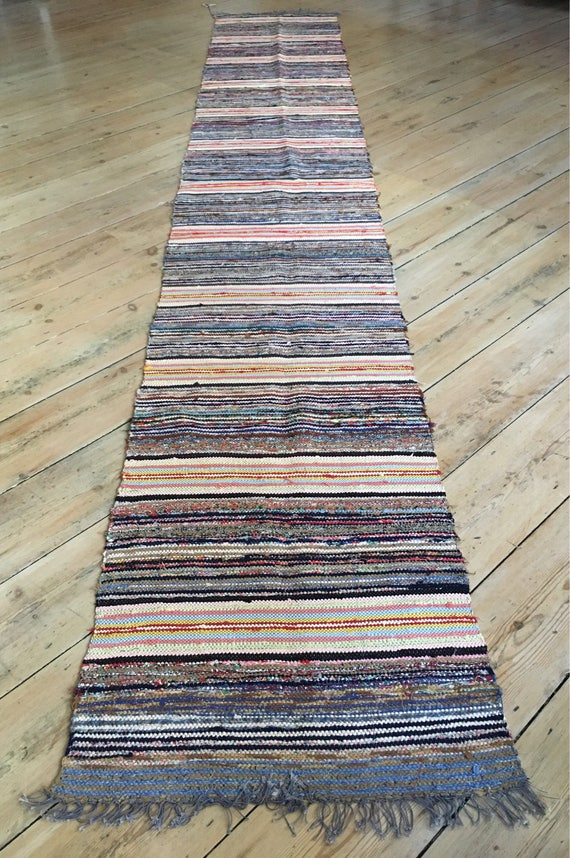 Traditional folk vintage Swedish trasmattor recycled material rug circa 1960's